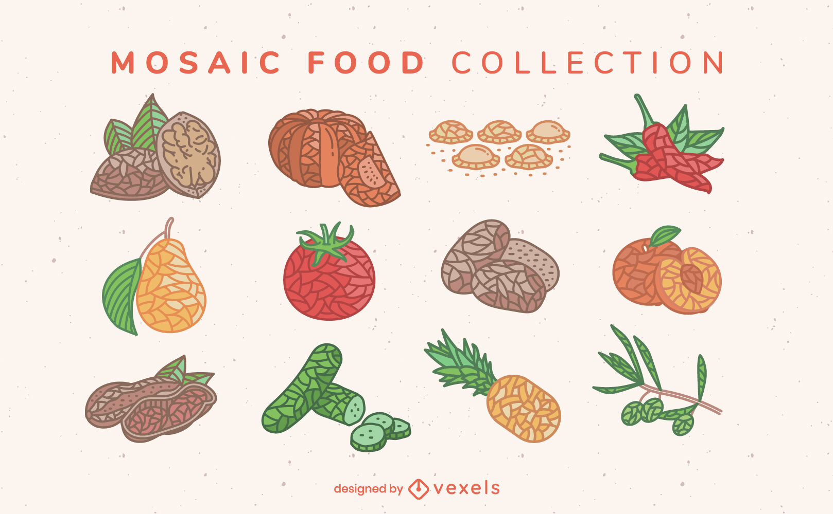 Mosaikfarbenes Lebensmittelzutatenset