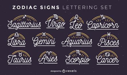 Zodiac signs simple lettering badges set