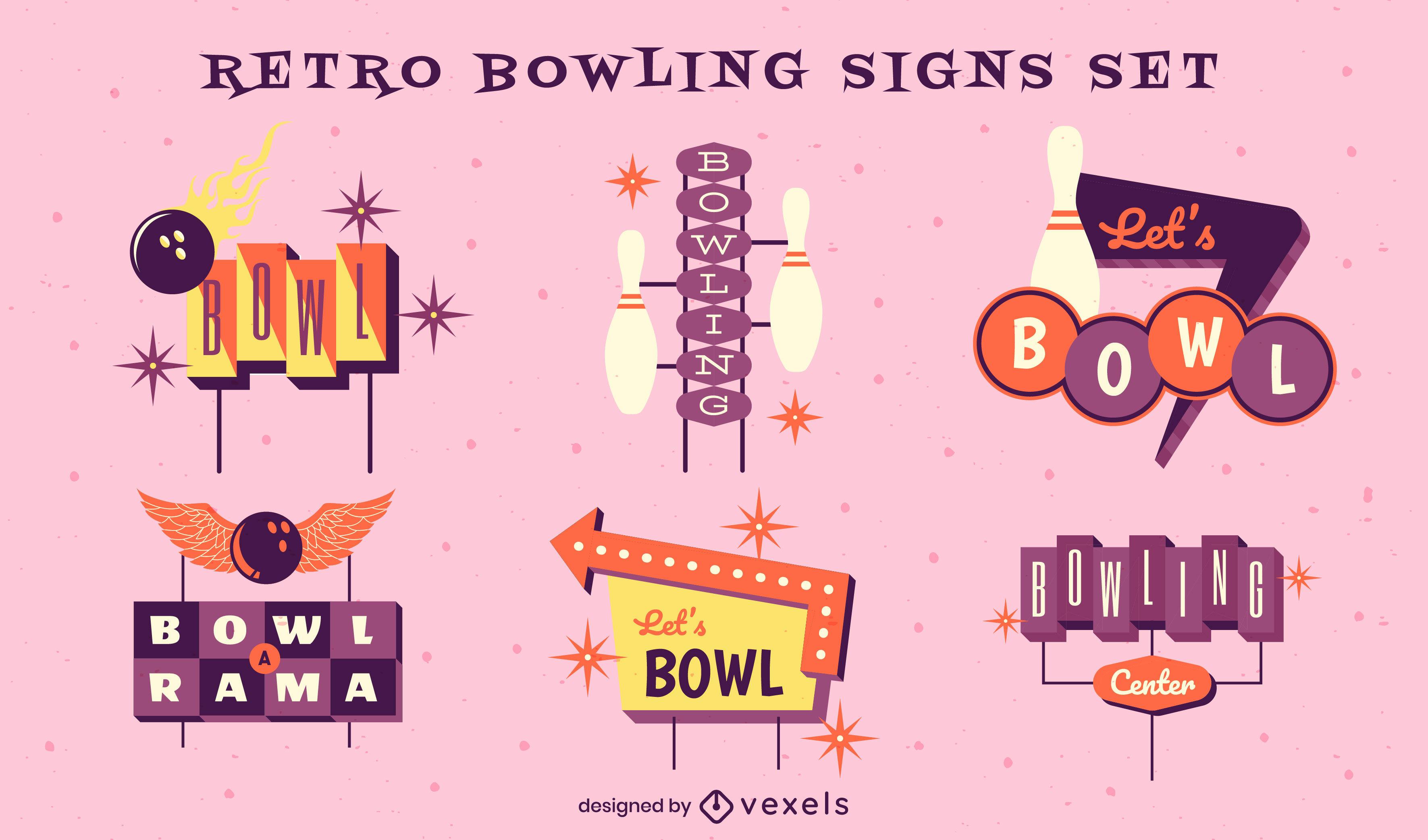 Vintage bowling signs semi flat set