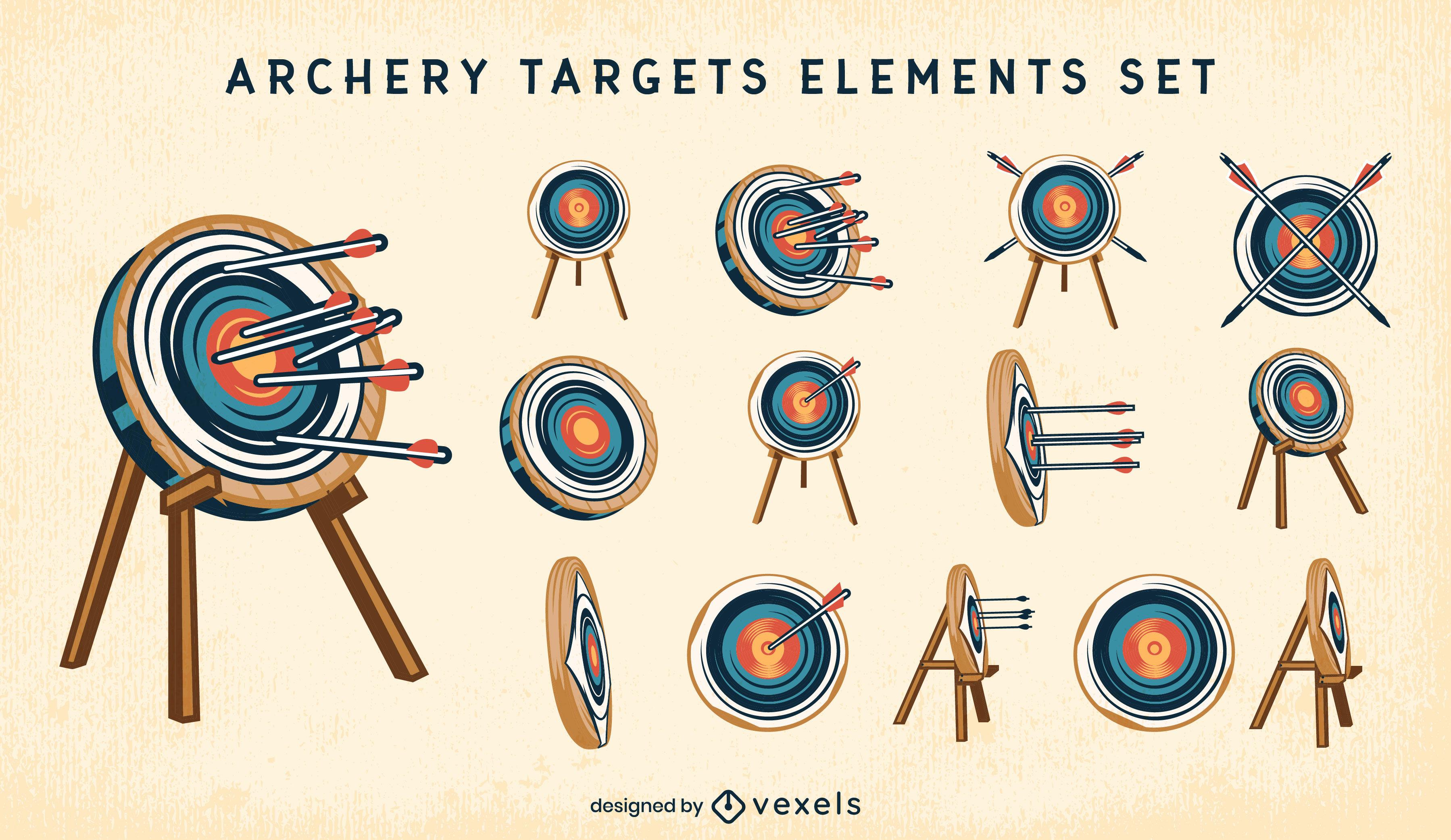 Alvos de tiro com arco e traço de cor dos elementos das flechas