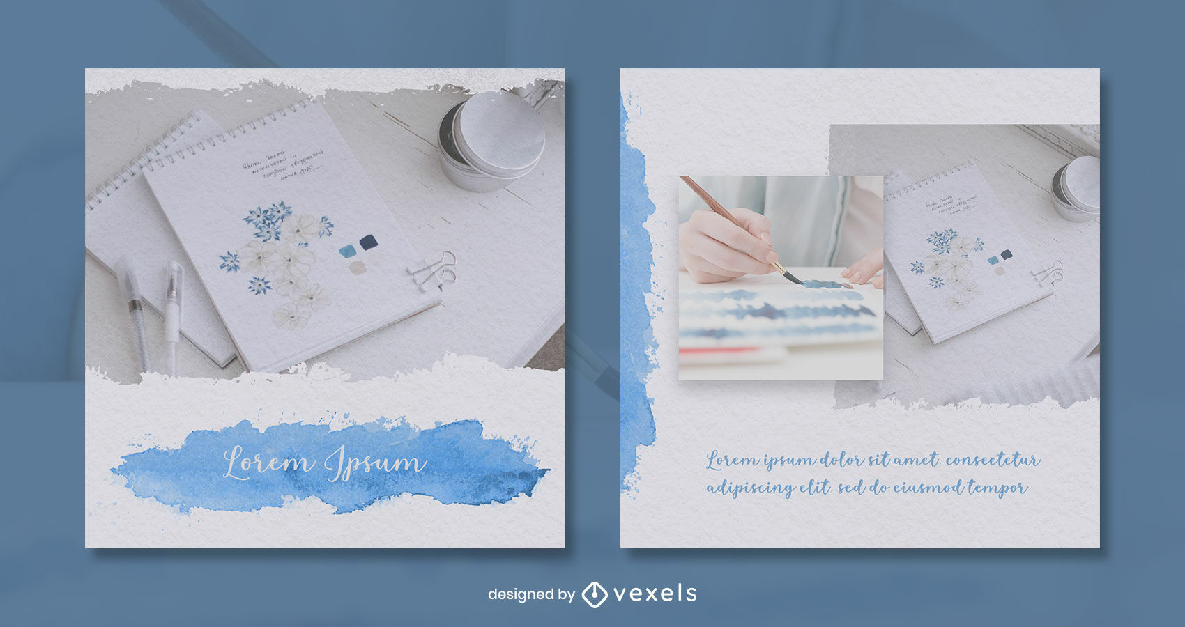 Watercolor paper and text instagram post template