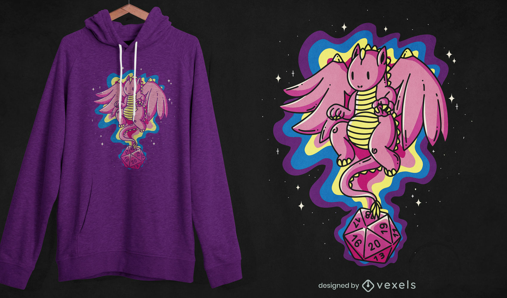 Role-playing dice dragon t-shirt design
