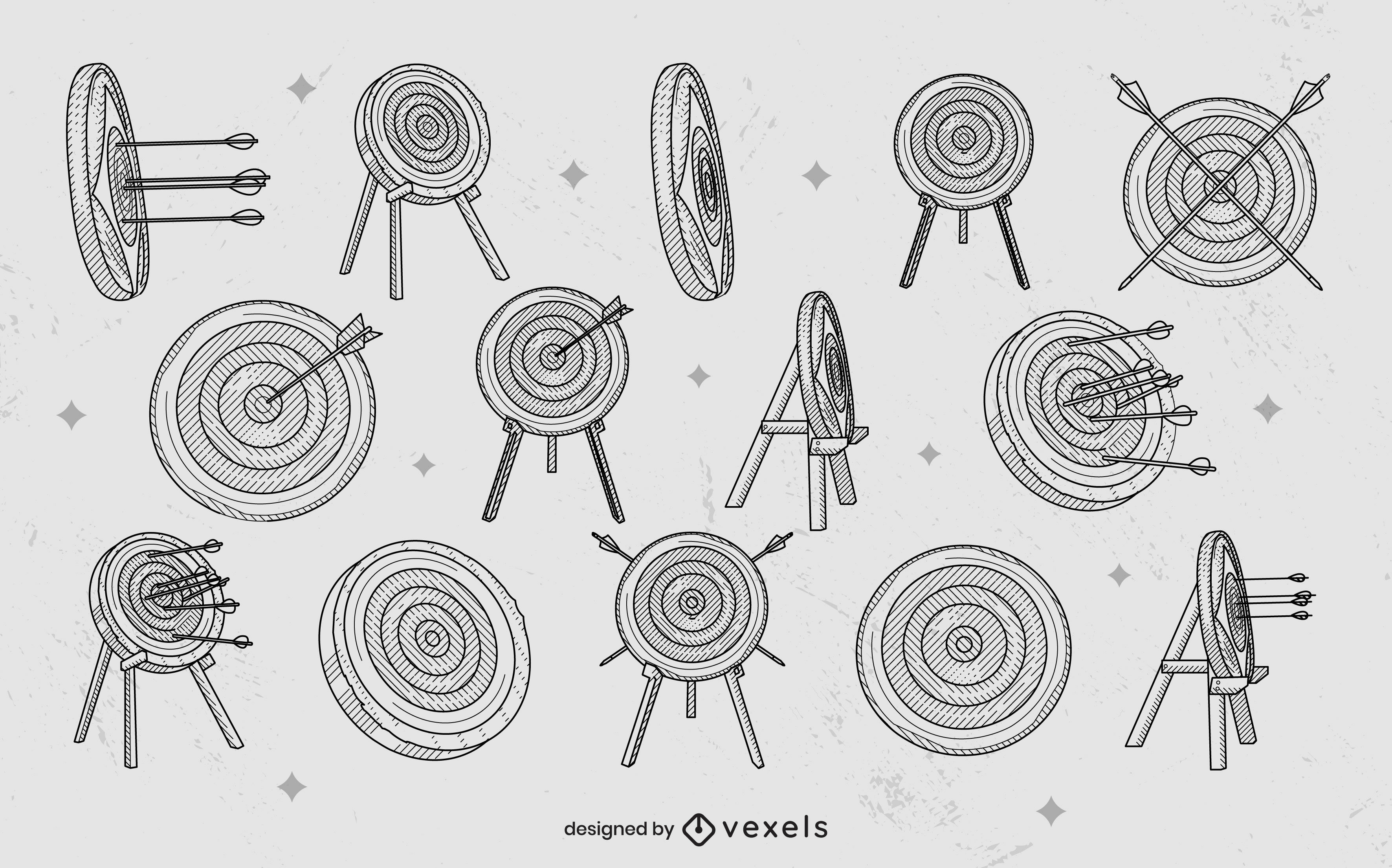 Archery targets and arrows elements stroke