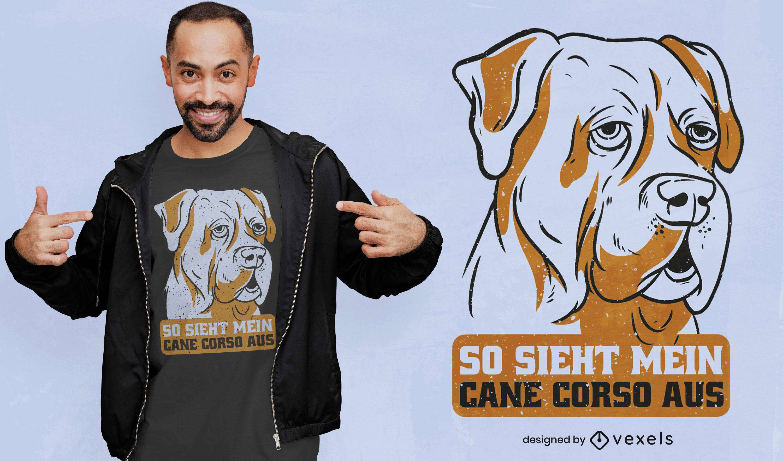 Diseño de camiseta de cita de perro de cane corso