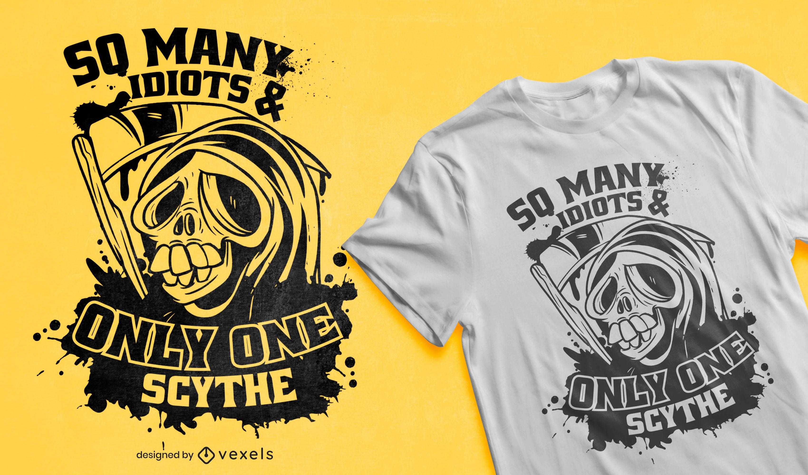 Desenho de t-shirt com citação engraçada sobre a morte dos desenhos animados