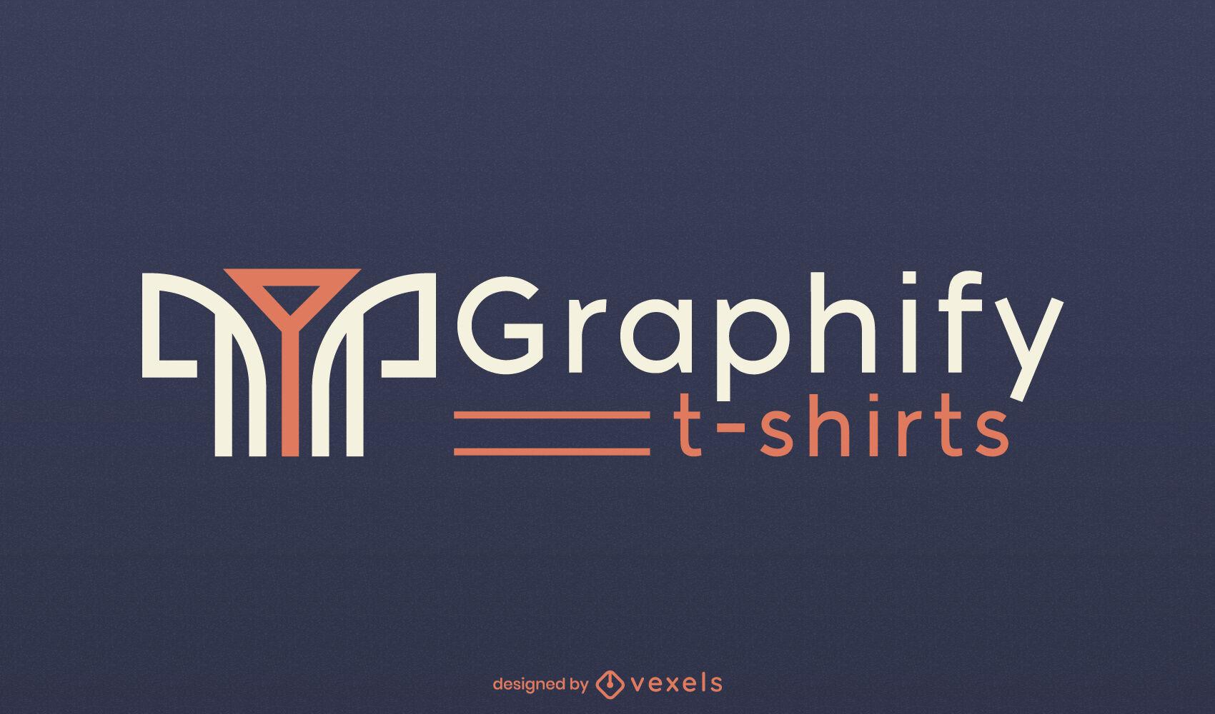 Modelo de logotipo de linhas e formas geométricas de camiseta