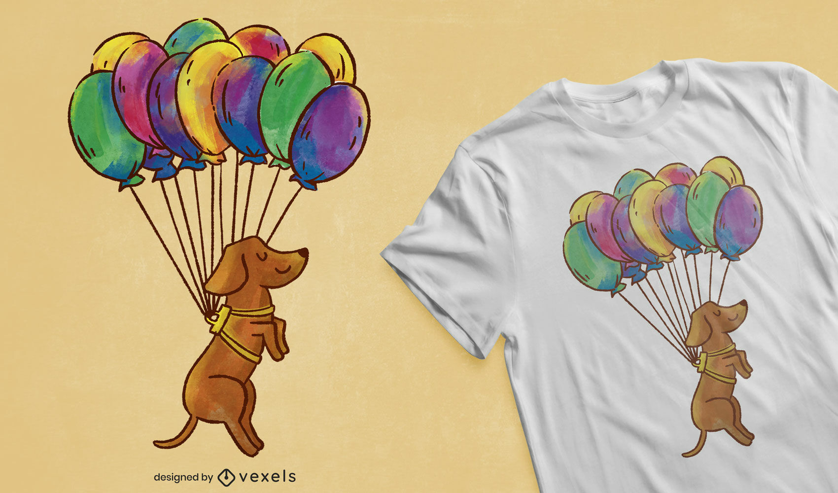 Dackel Hund Ballons T-Shirt Design