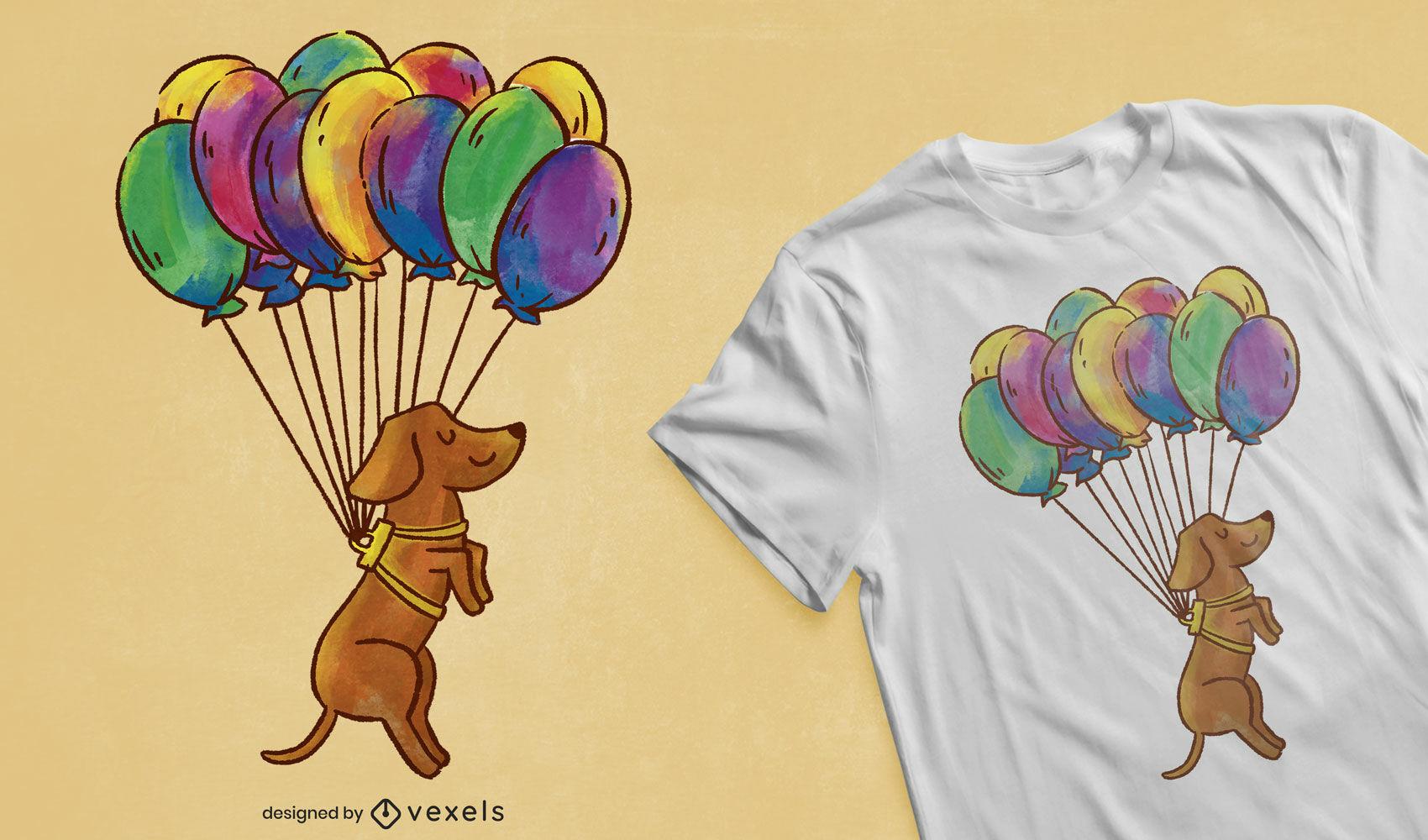 Dise?o de camiseta de globos de perro Dachshund.