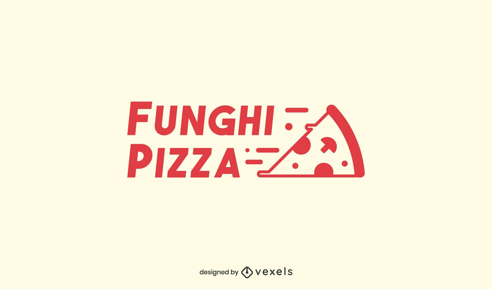 Plantilla de logotipo de trazo lleno de pizza