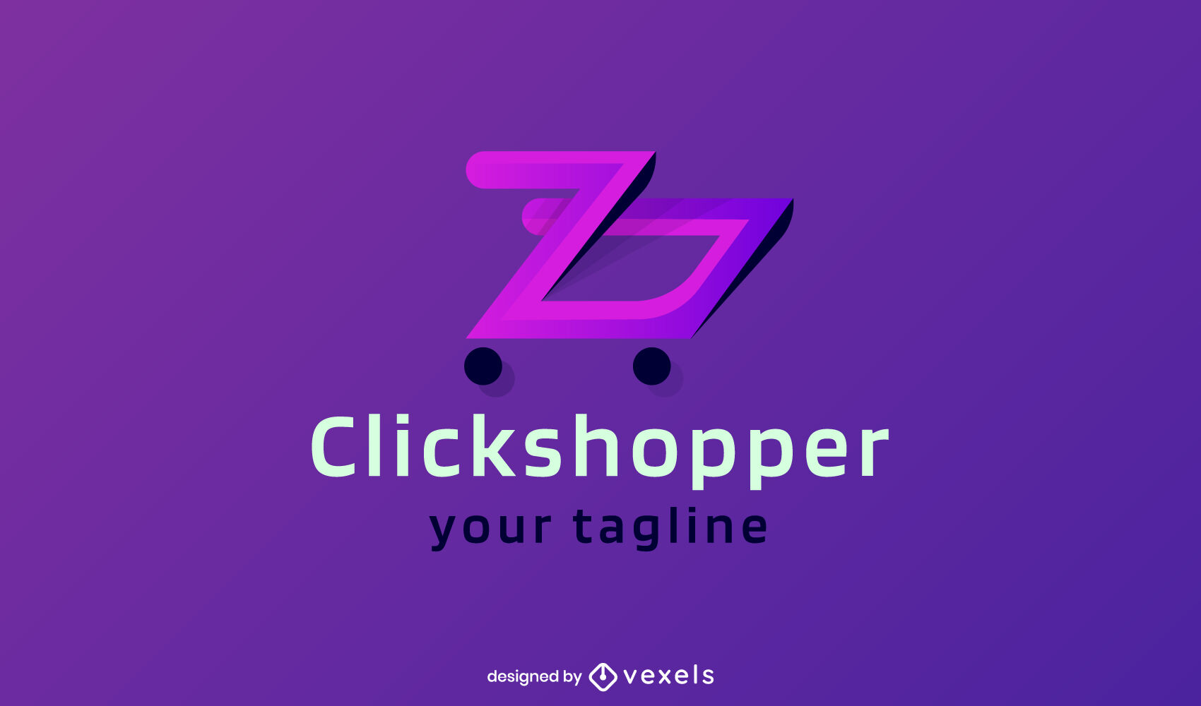 Modelo de logotipo gradiente de carrinho de compras