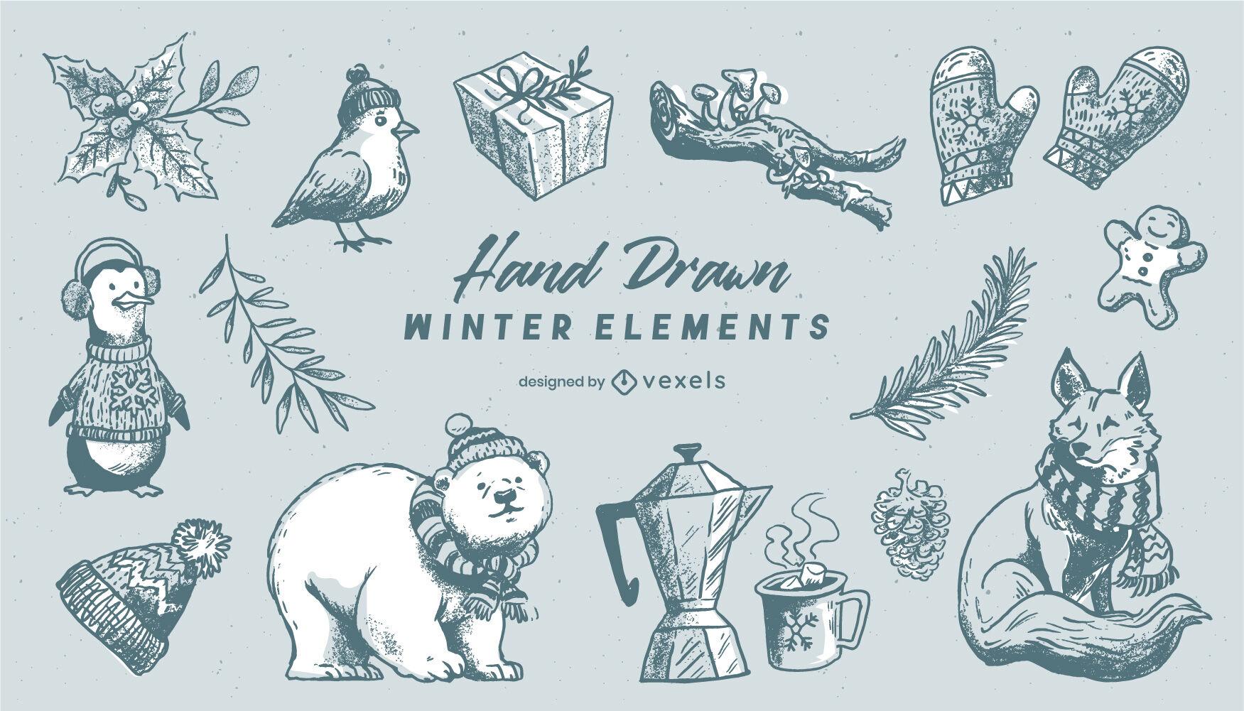 Conjunto de elementos de invierno dibujado a mano