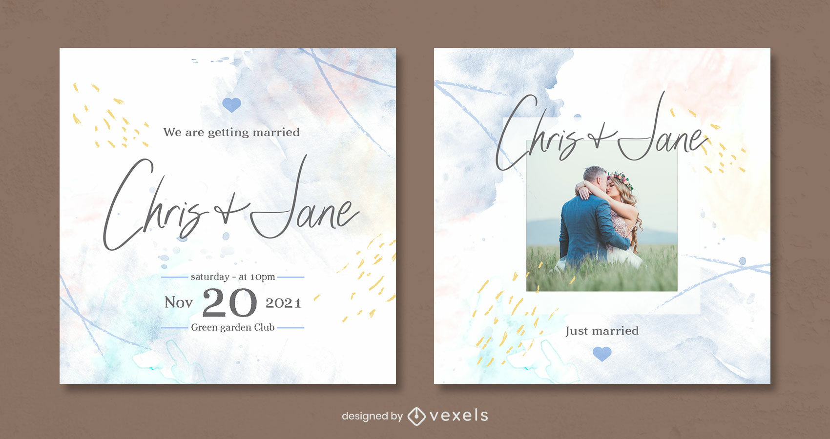 Abstact watercolor instagram post template