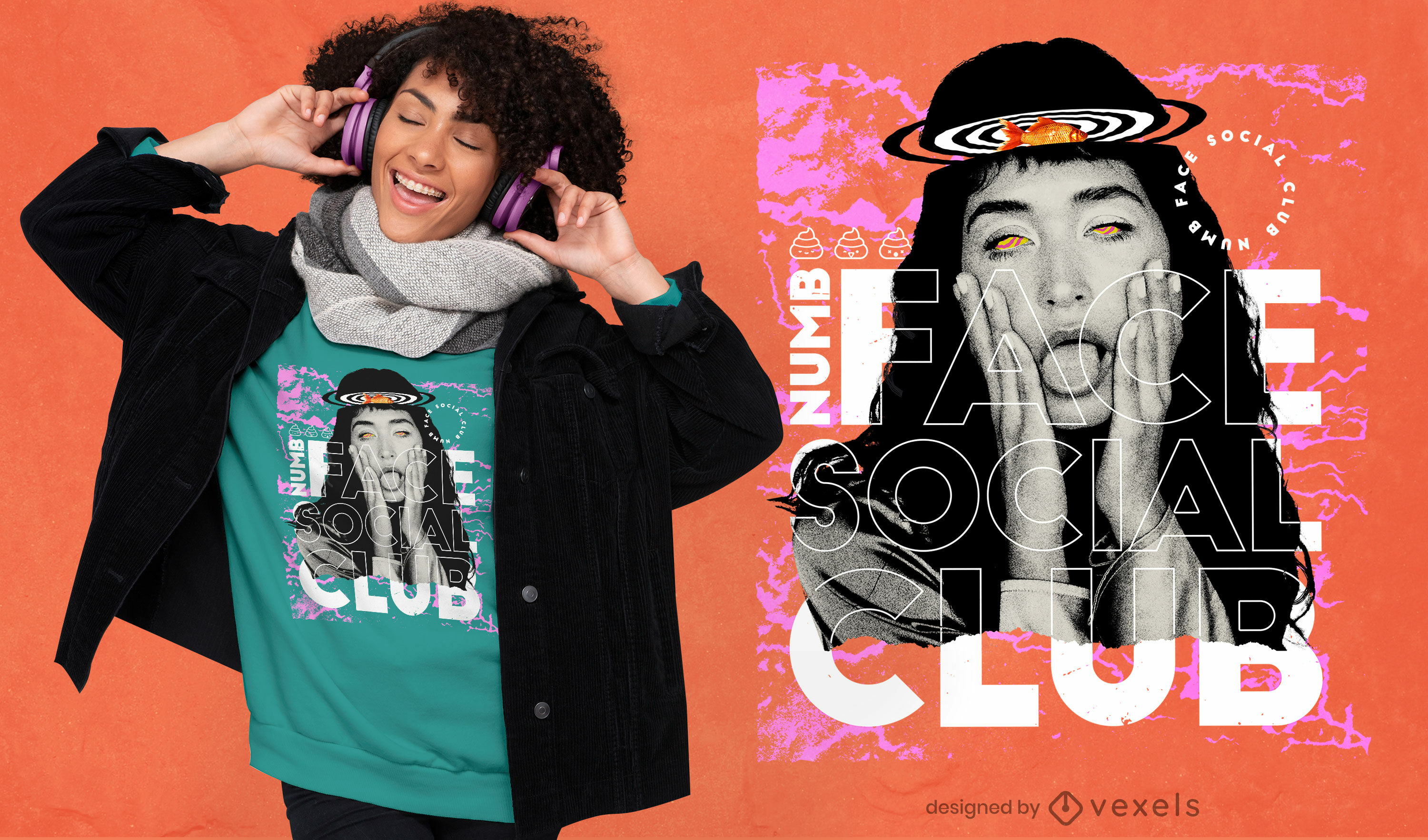 Numb face girl collage psd t-shirt design