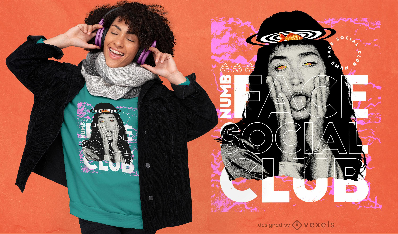 Taubheitsgesicht Mädchen Collage PSD T-Shirt Design