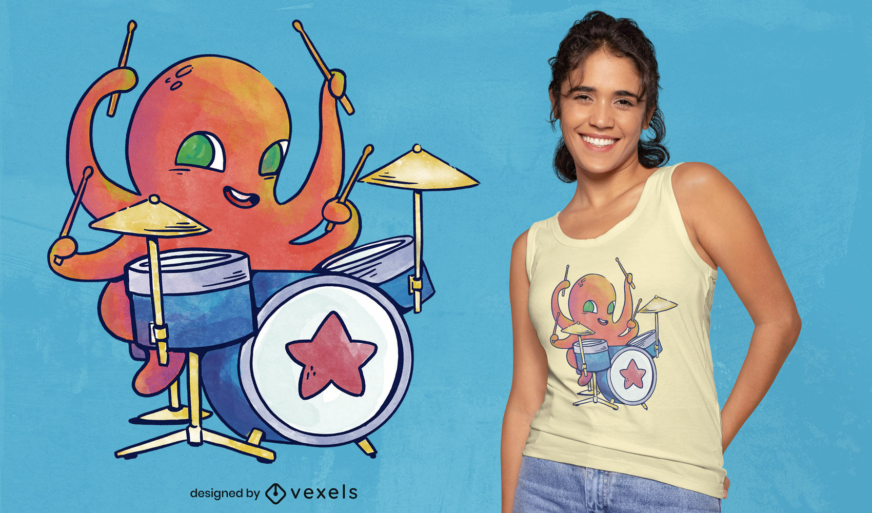 Aquarell Tintenfisch Schlagzeuger PSD T-Shirt Design
