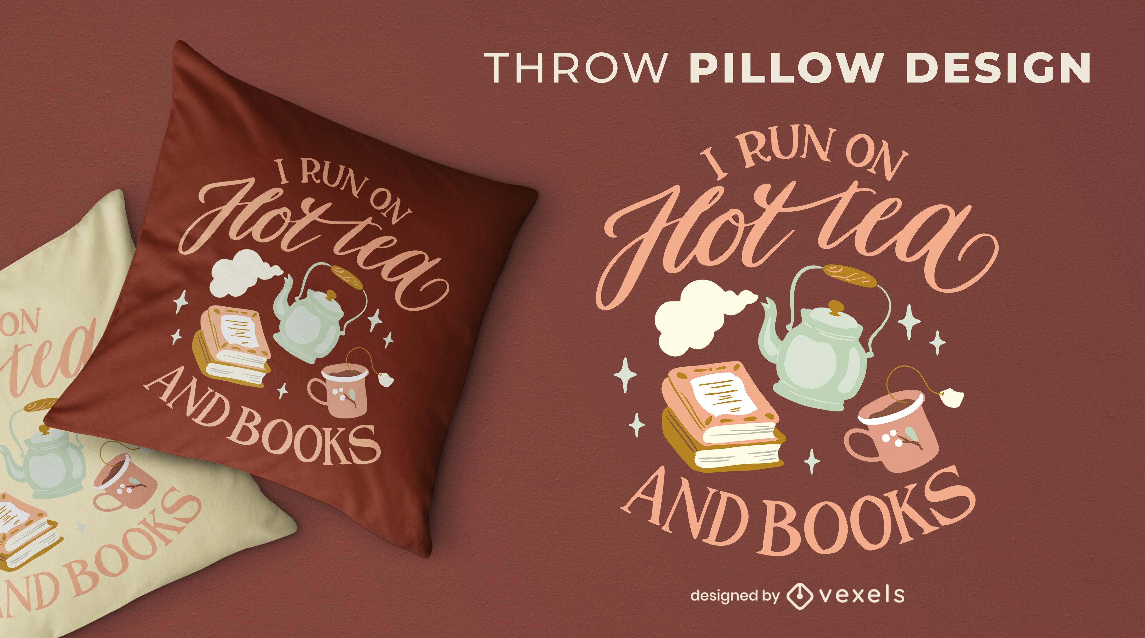 Cozy winter tea and books throw pillow design