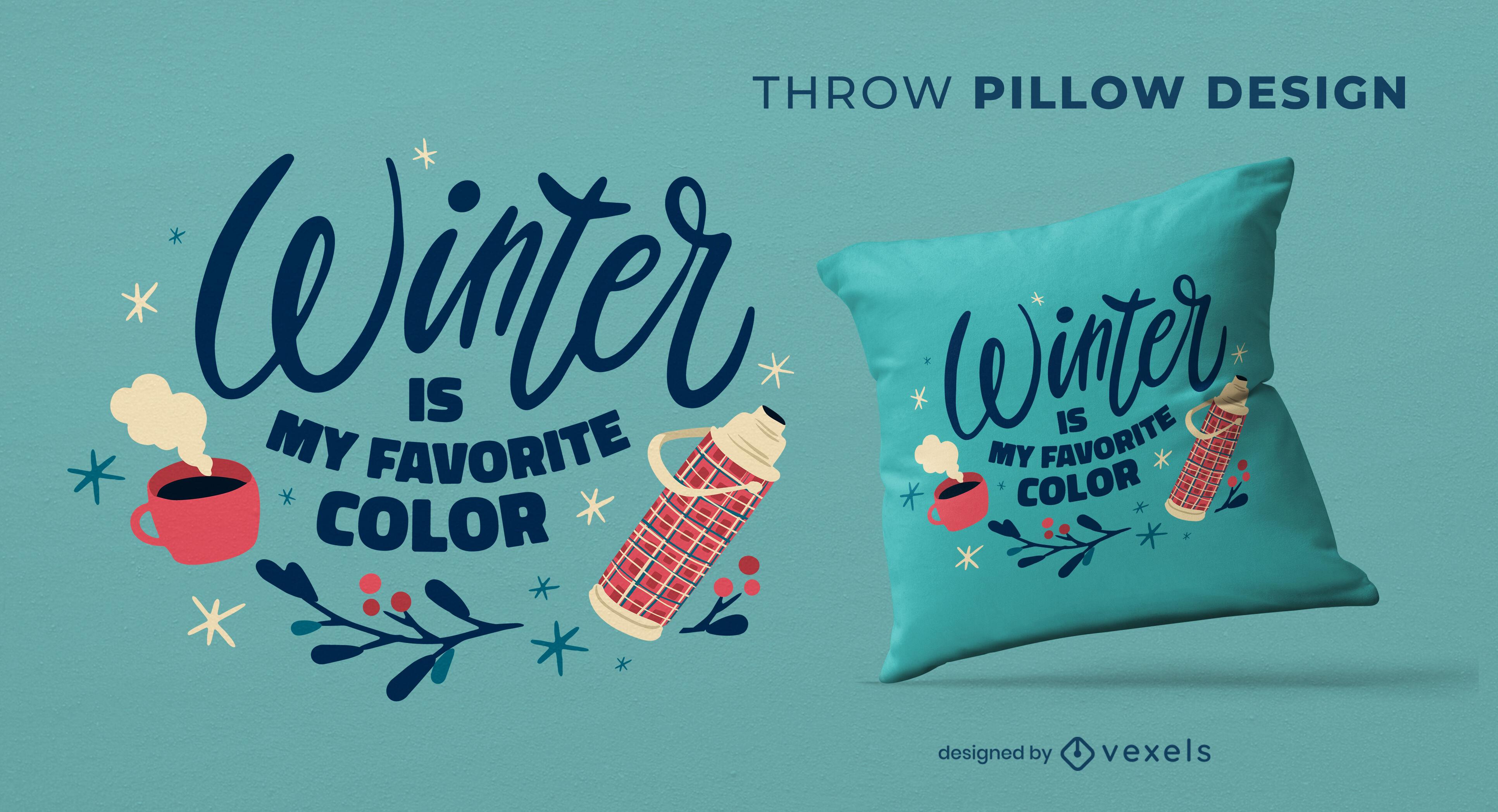 Cozy winter season tea throw pillow design