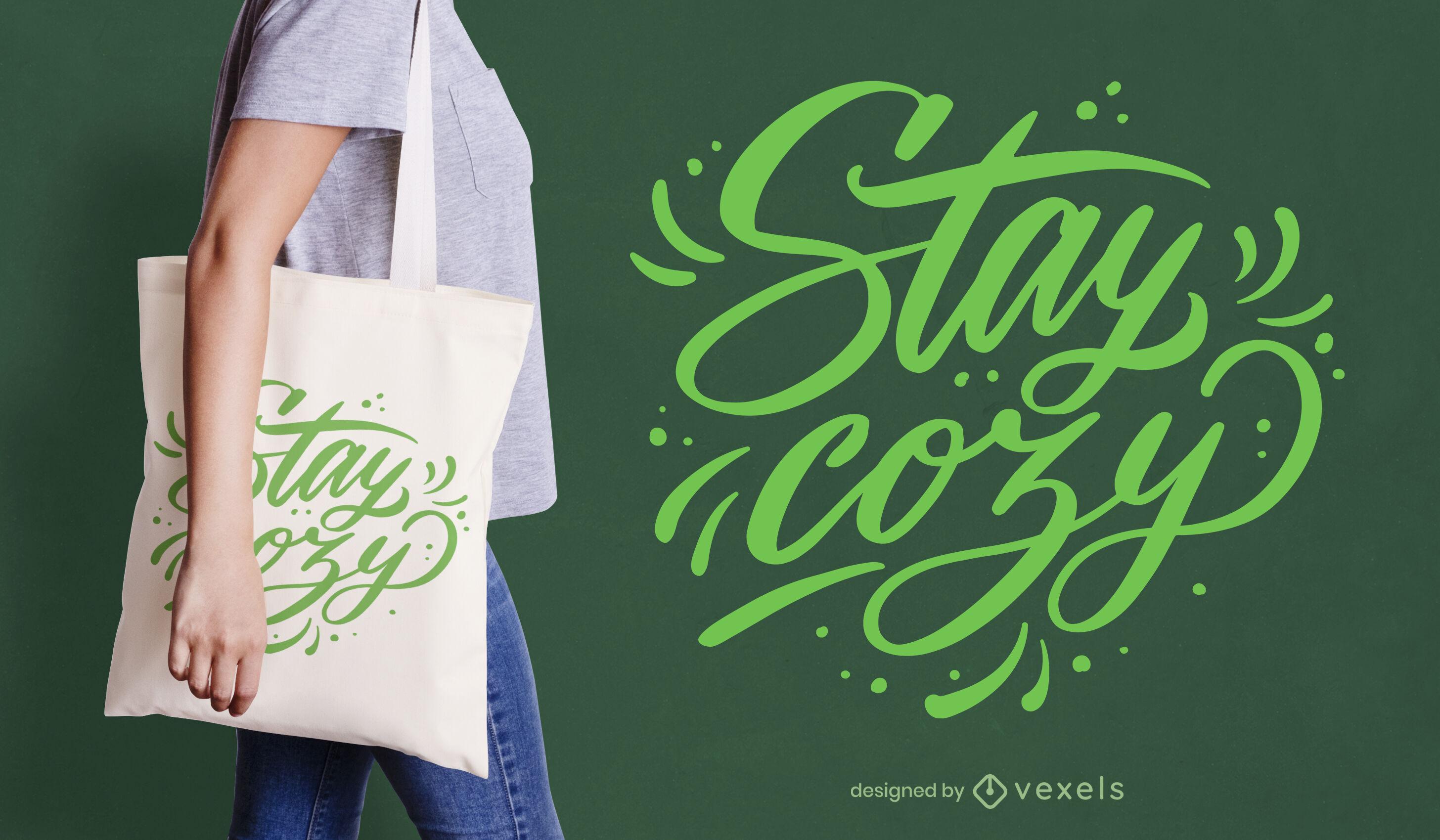 Winter cozy quote lettering tote bag design