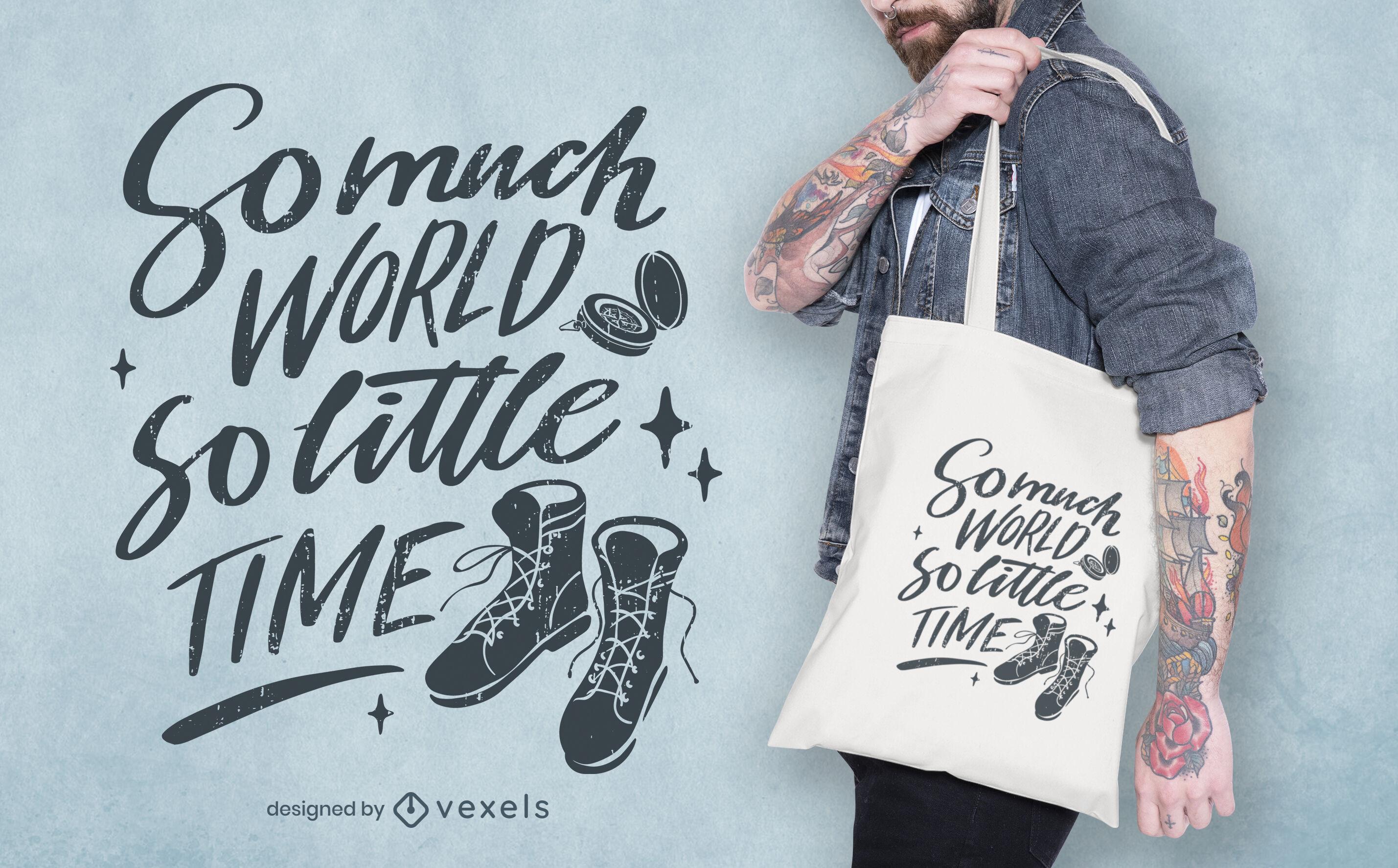 Adventure quote lettering tote bag design