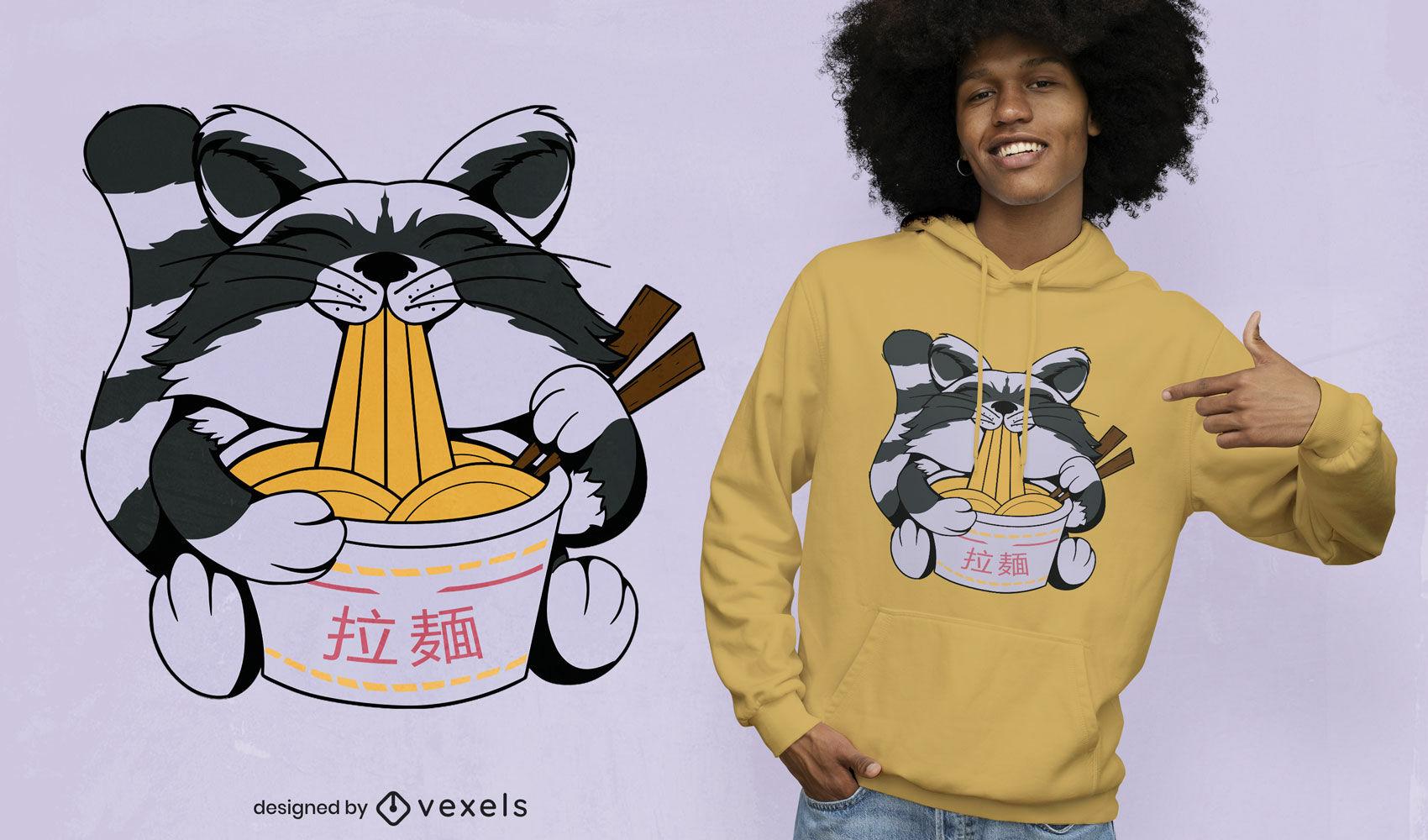 Diseño de camiseta de mapache comiendo ramen