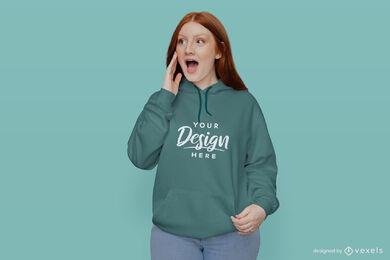 Girl in green hoodie mockup in green background