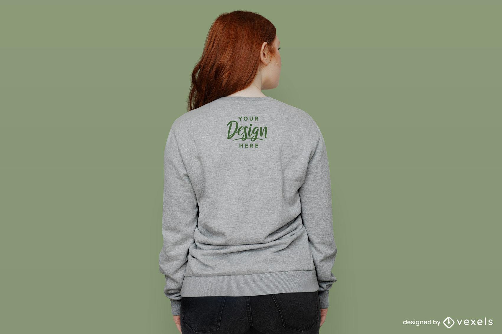 Girl with grey sweatshirt from behind mockup