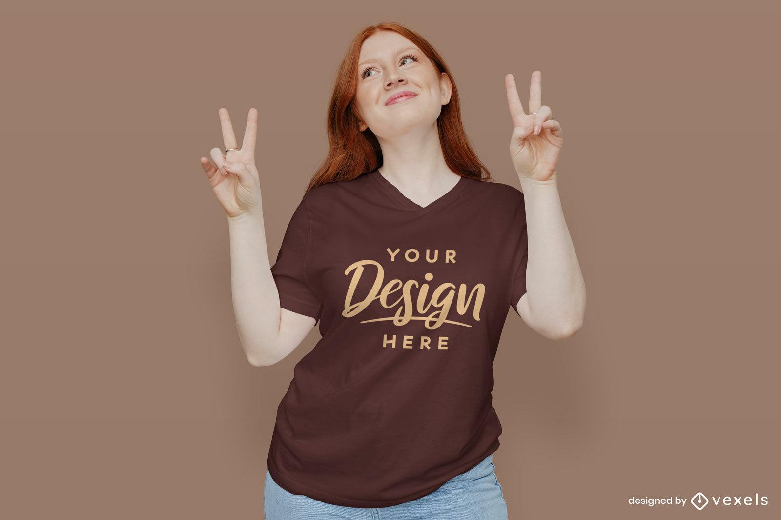 Girl in brown t-shirt mockup