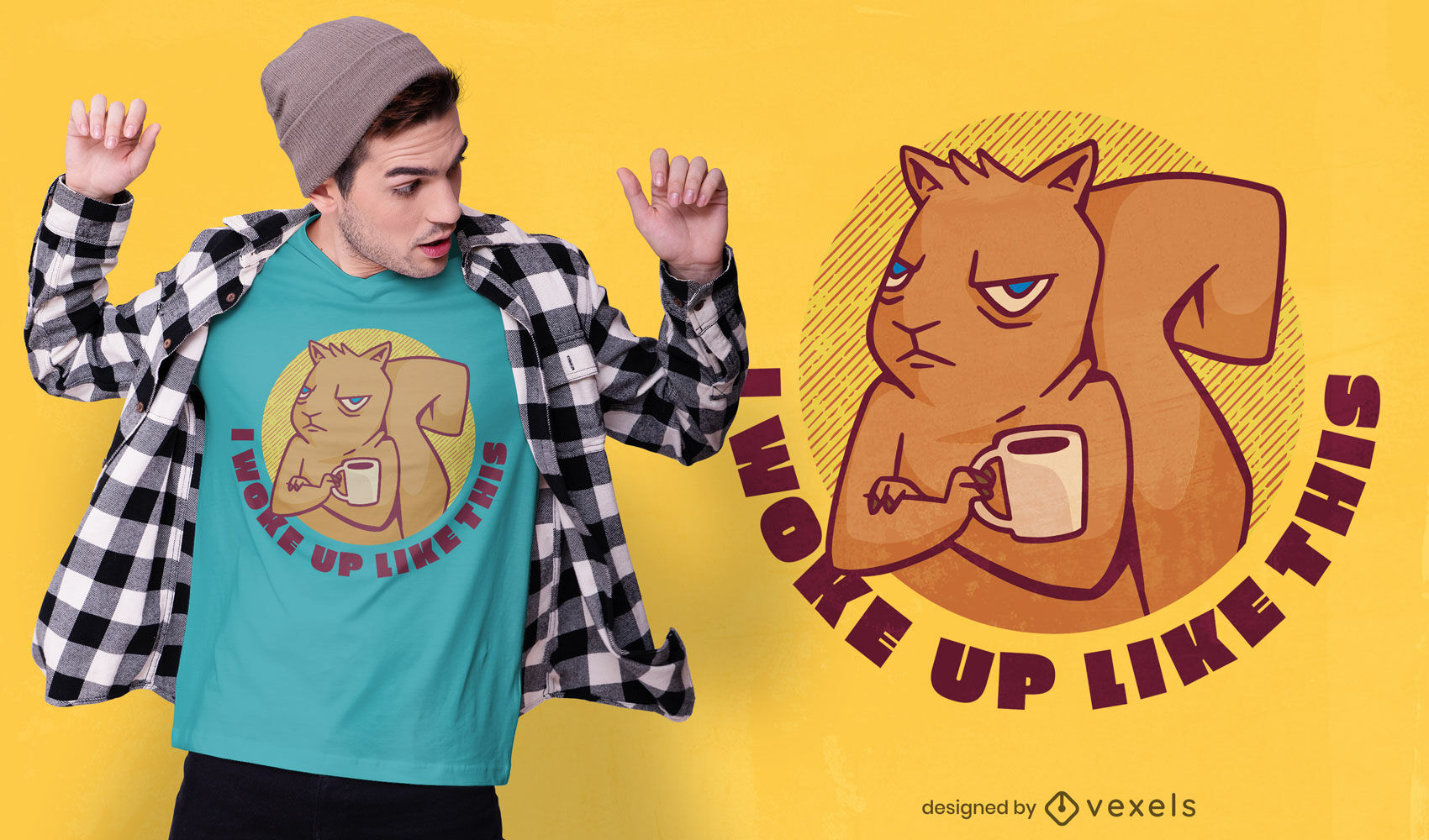 Grumpy squirrel cartoon t-shirt design