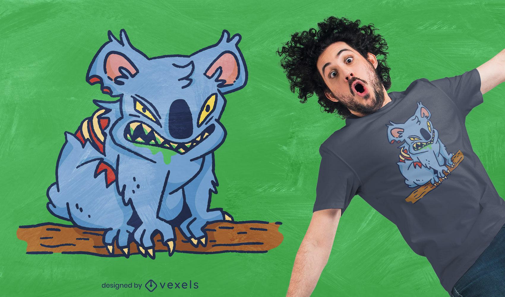 Design de camiseta com animal coala zumbi assustador