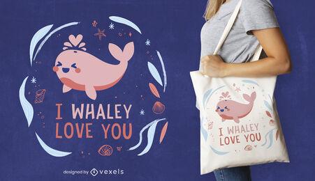 Whale in love cute animal tote bag design