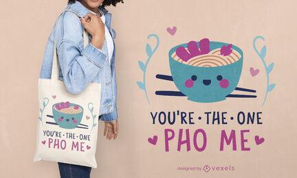 Ramen noodles asian food tote bag design