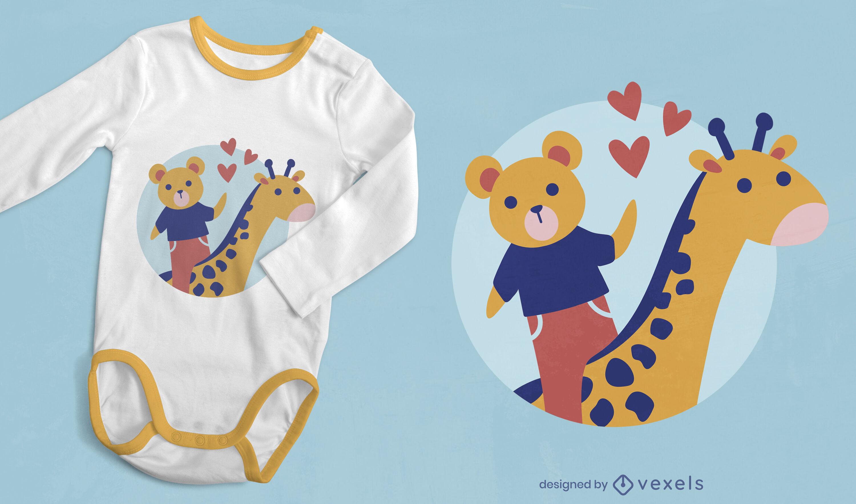 Lindo diseño de camiseta de oso y jirafa.