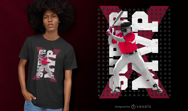 Design de t-shirt PSD para batedor de beisebol MVP
