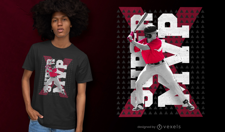 Diseño de camiseta psd de bateador de béisbol MVP