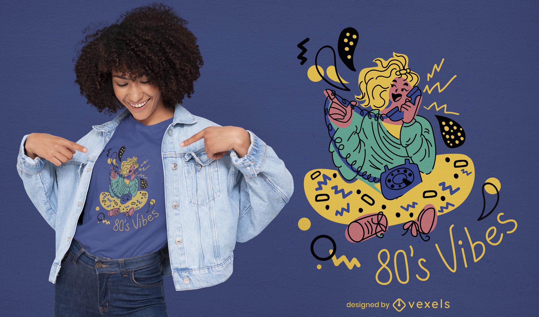 Dise?o de camiseta de personaje de ni?a de los 80