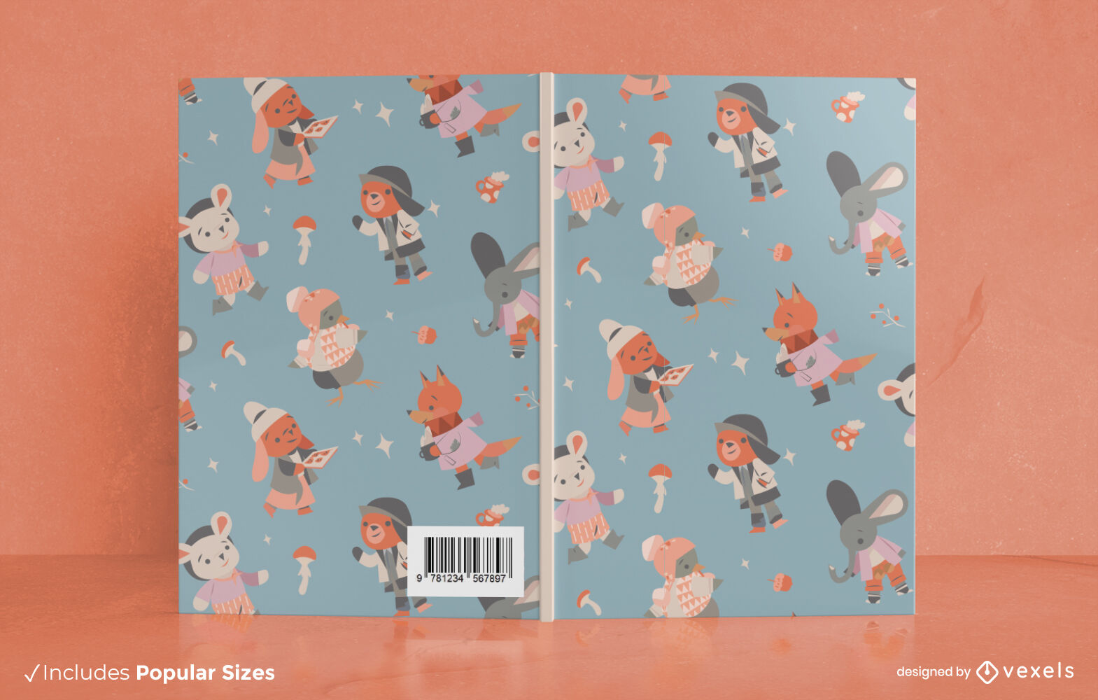 Animals winter clothes book cover design