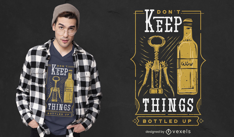 Diseño de camiseta de cosas embotelladas