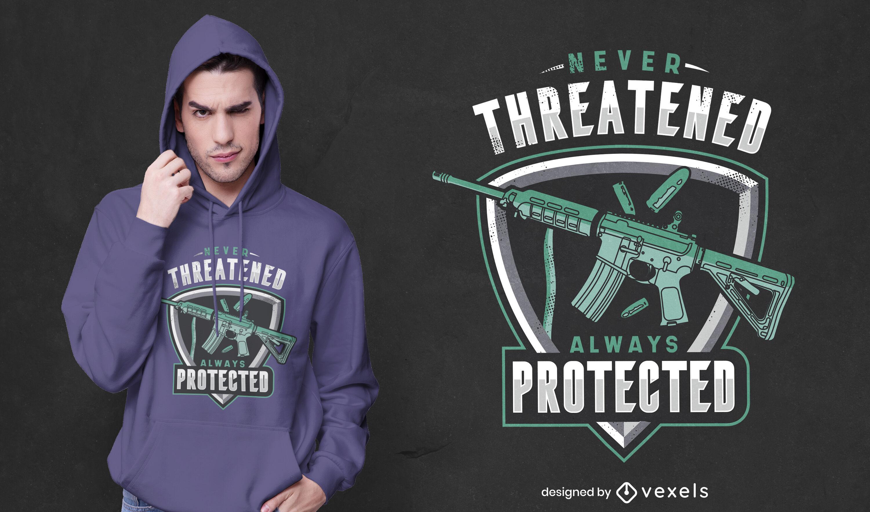 Design de camiseta com arma nunca ameaçada
