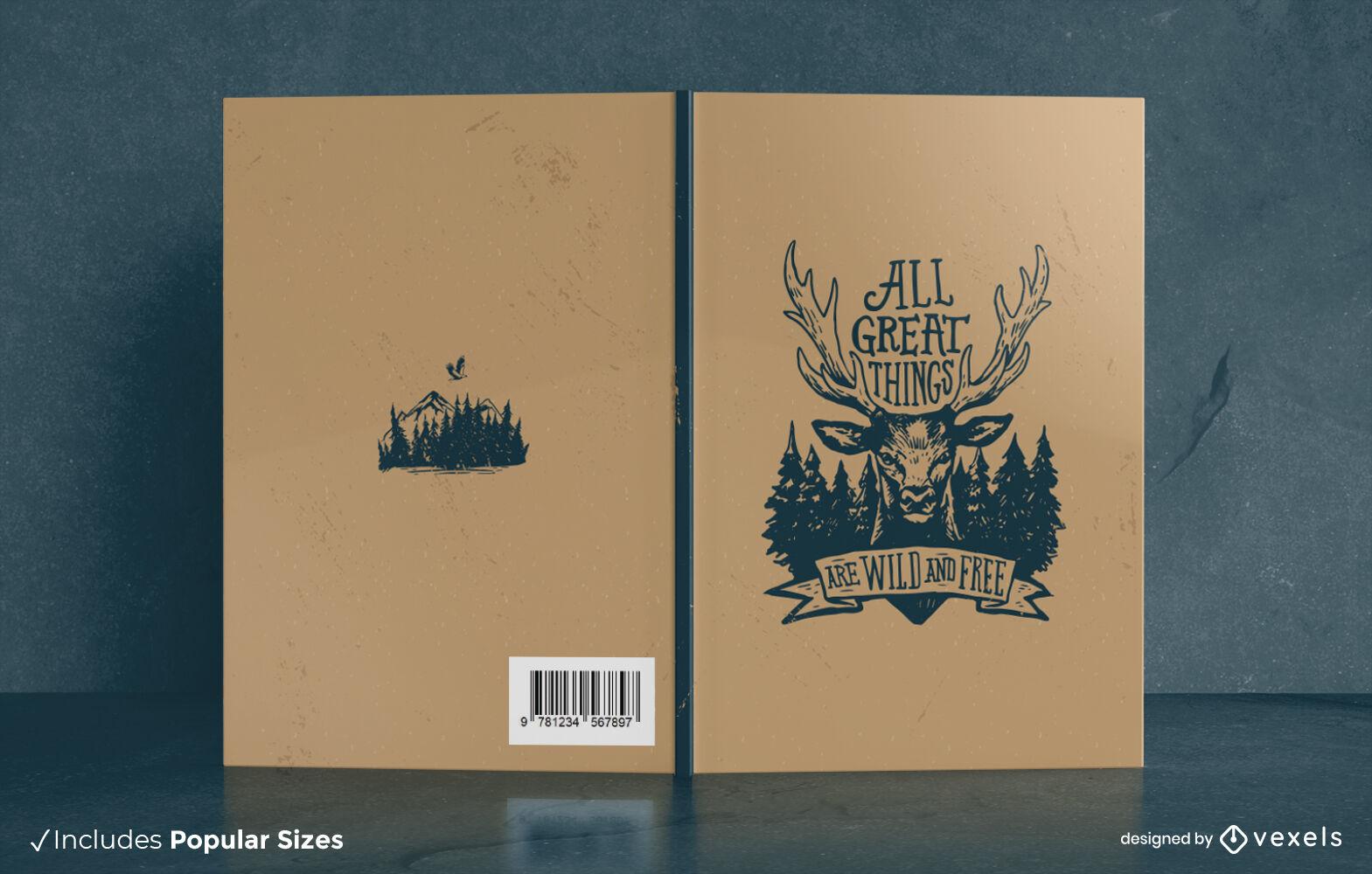 Diseño de portada de libro de animales de ciervo de aventura de invierno