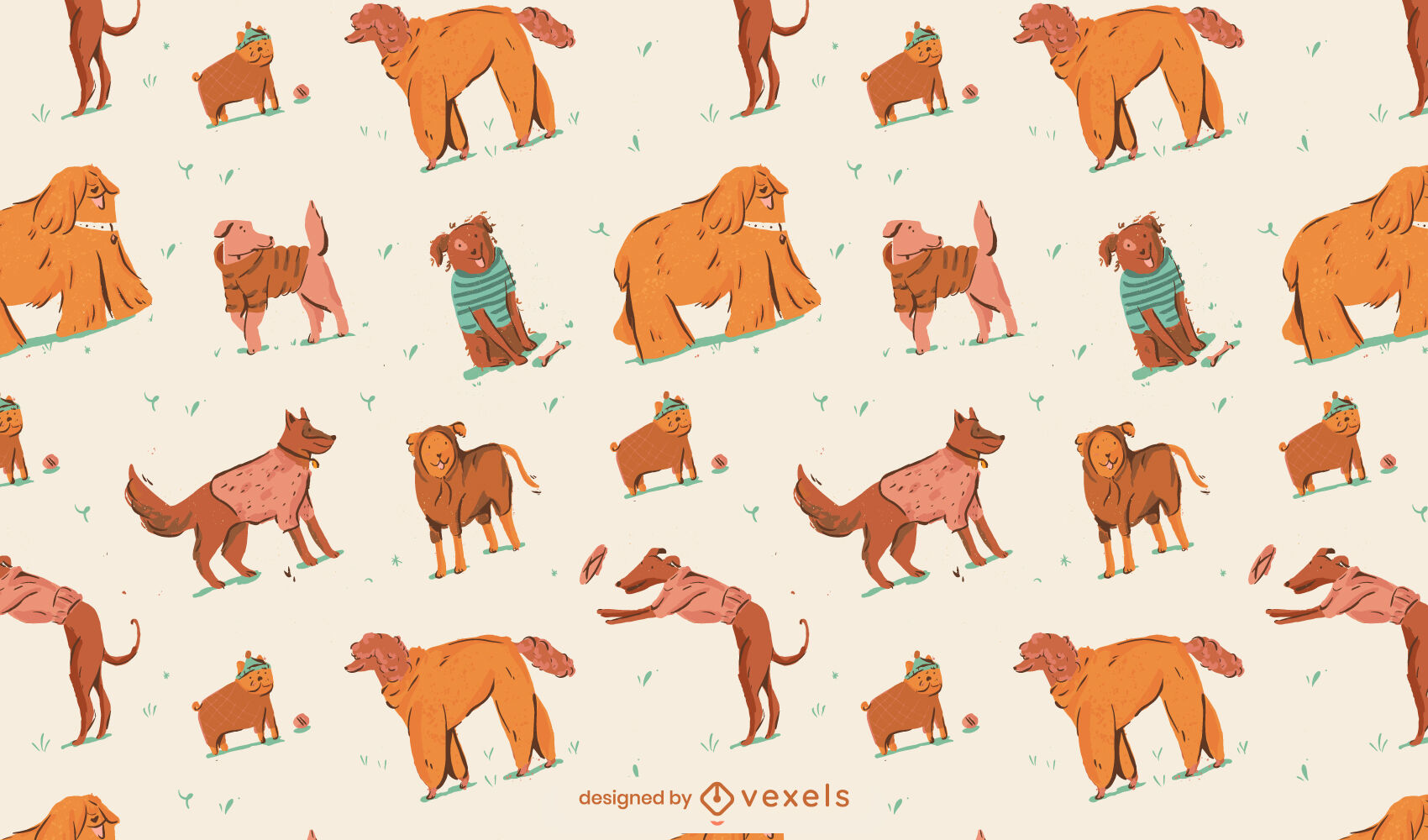Perros en ropa diseño de patrón animal.