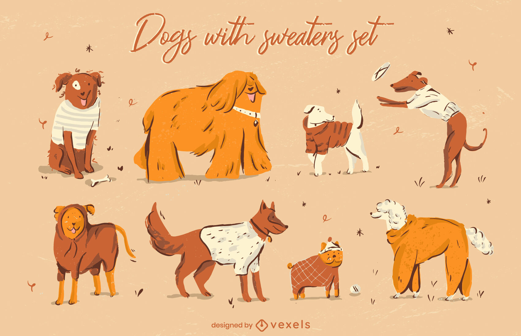 Cute dog animals in sweater clothes set