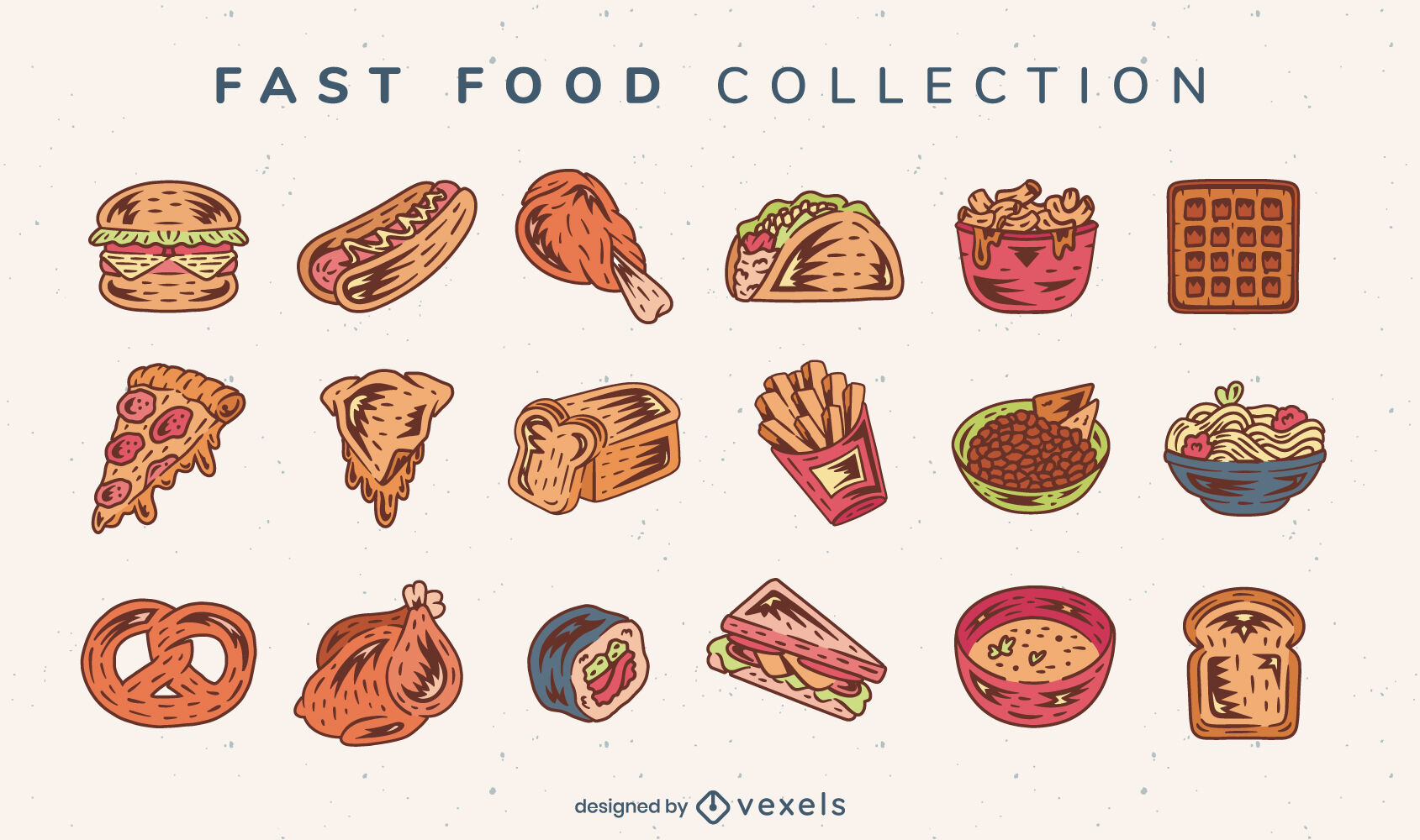 Conjunto de colección deliciosa de comida rápida