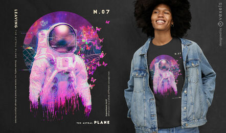Astronaut vaporwave psd t-shirt design