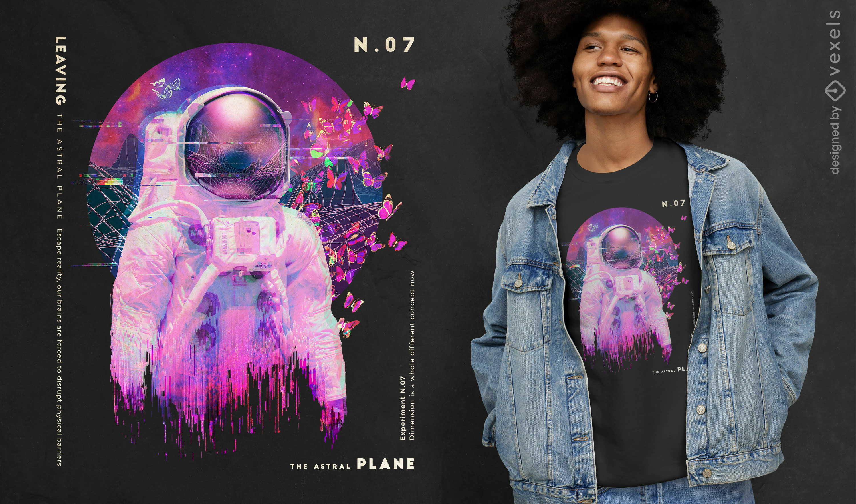 Dise?o de camiseta de astronauta vaporwave psd