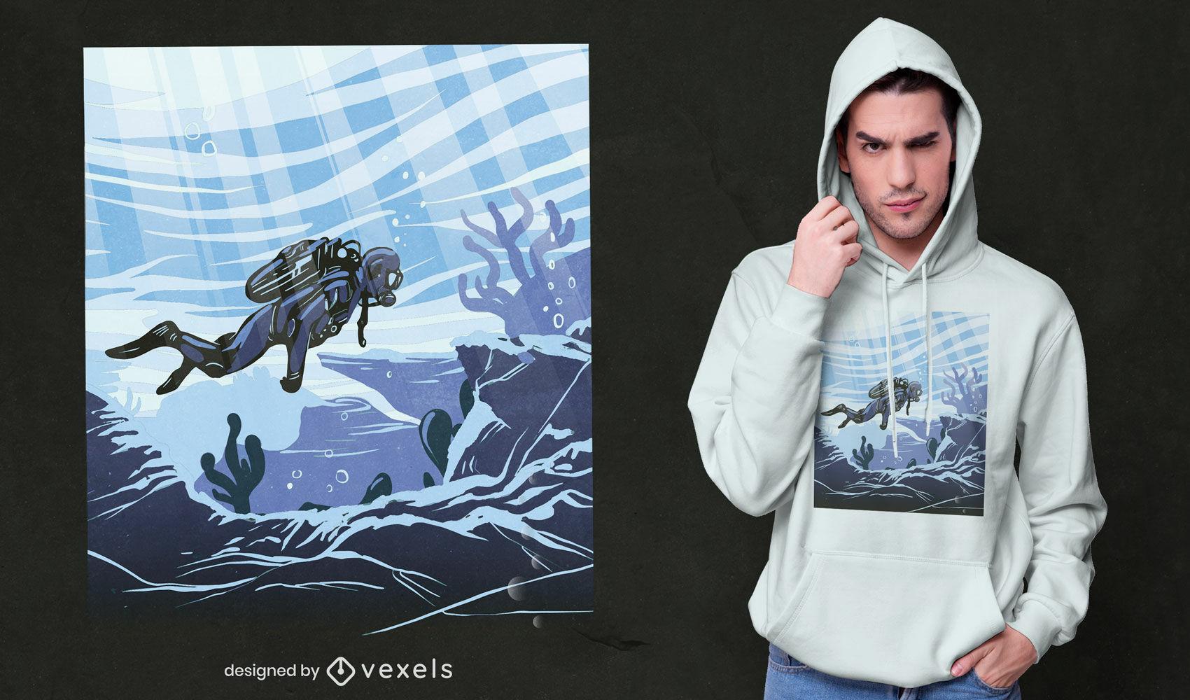 Design de camiseta com ilustração subaquática do mergulhador