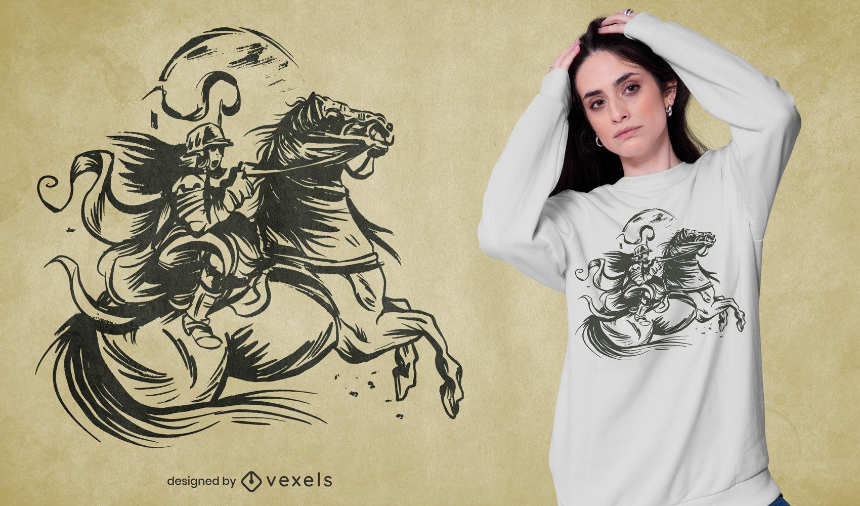 Handgezeichnetes Frauensoldaten-T-Shirt-Design