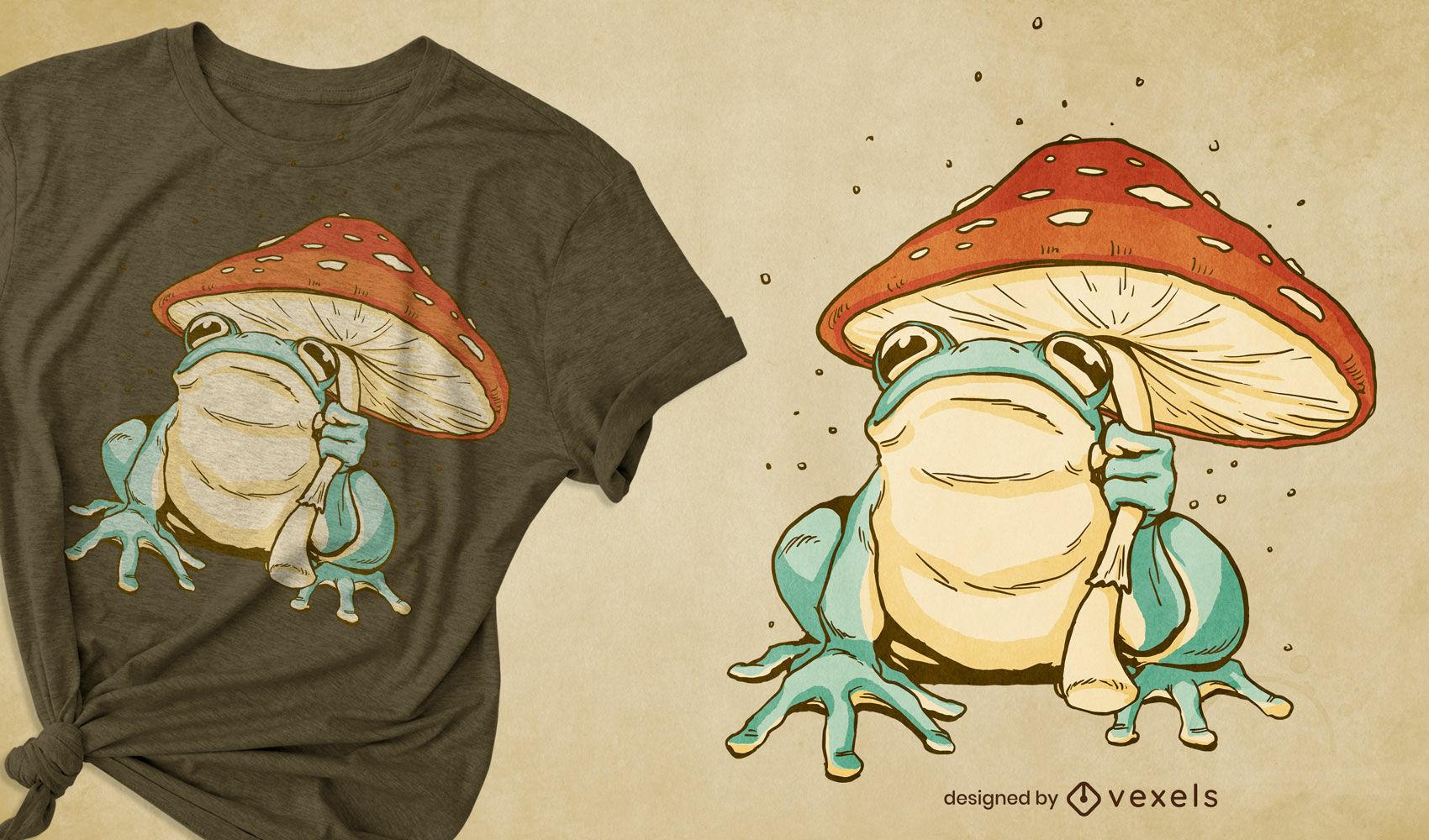 Design de t-shirt com guarda-chuva em cogumelo sapo