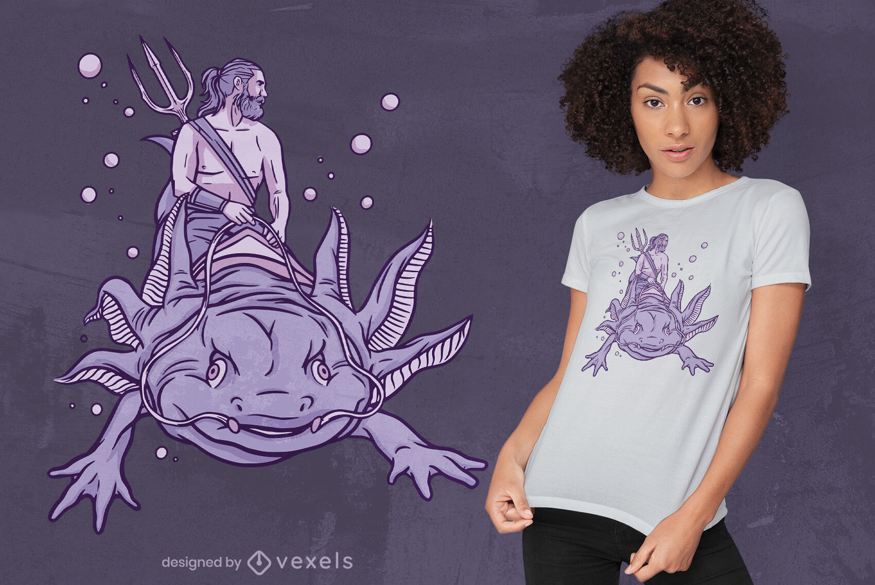Poseidon in axolotl t-shirt design