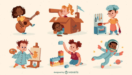 Children playing cute character set