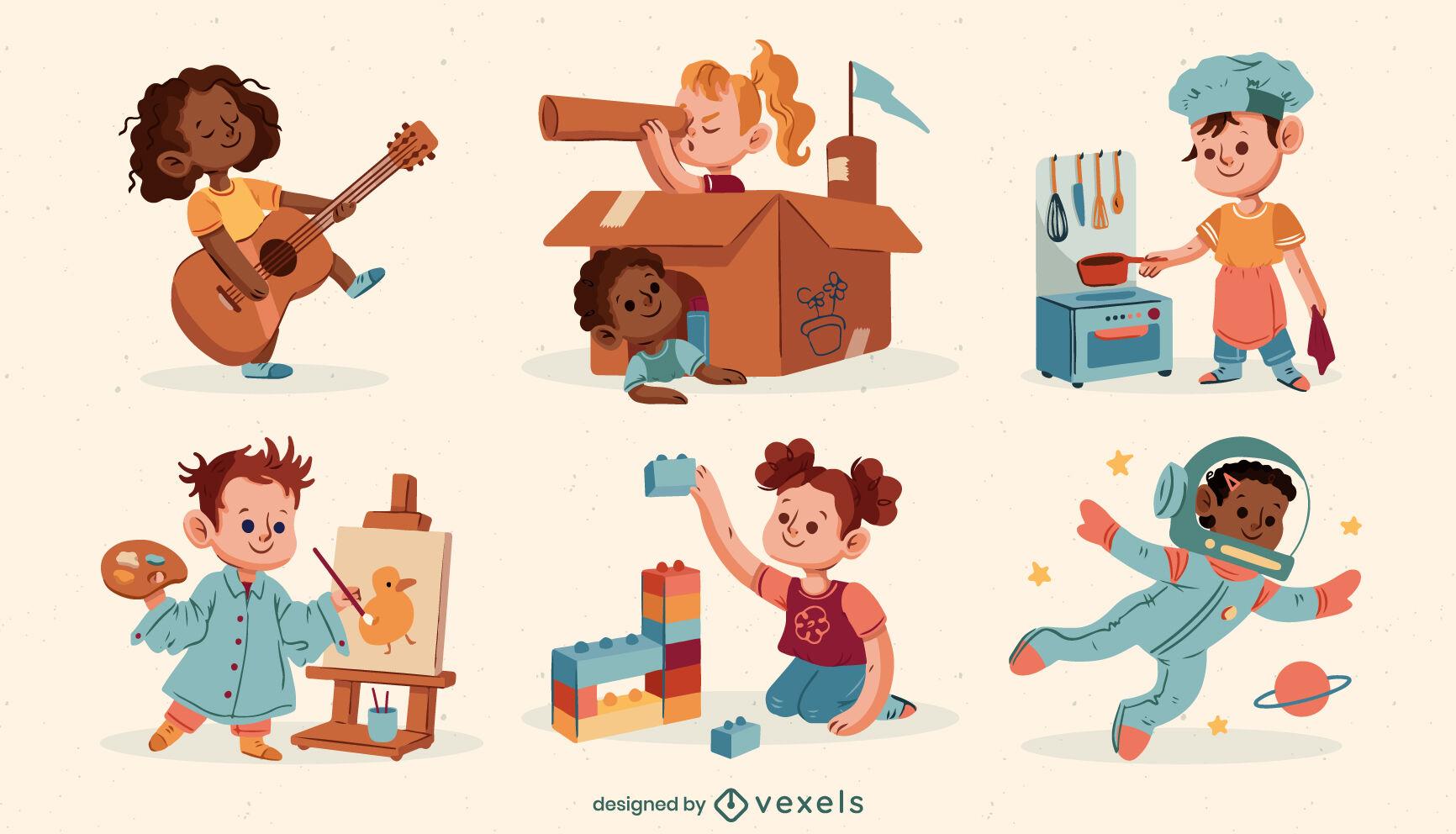 Kinder, die niedlichen Zeichensatz spielen